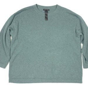 Eileen Fisher M 100% Cashmere Sweater Green Blue